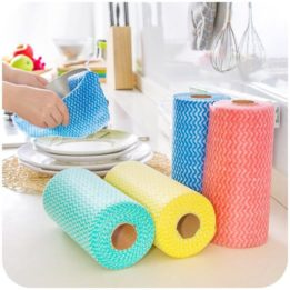 disposable cleaning cloths on a roll