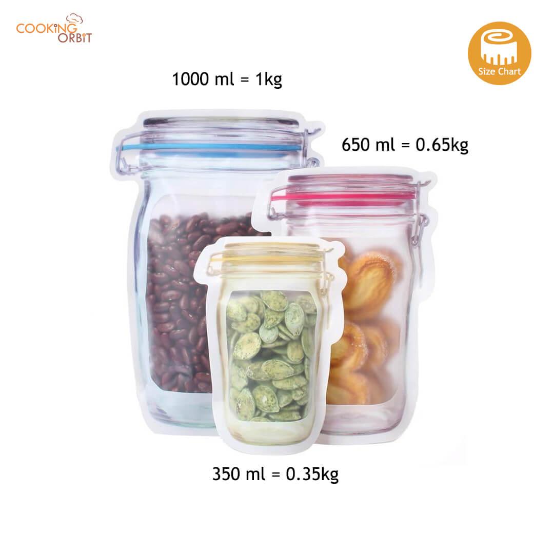 reusable jar bags size chart in Pakistan