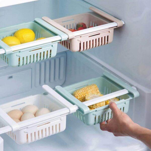 Adjustable Stretchable Refrigerator Organizer Drawer Basket