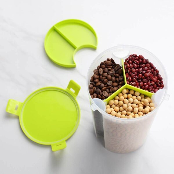 Plastic Food Storage Airtight Triple Partition Jar