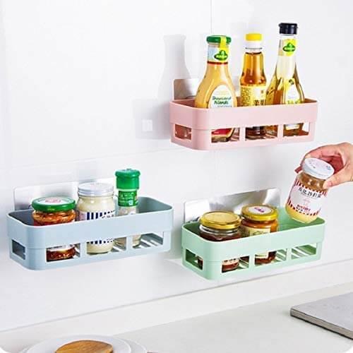 kitchen shelves and racks