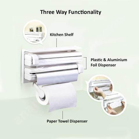paper towel plastic wrap aluminum foil dispenser