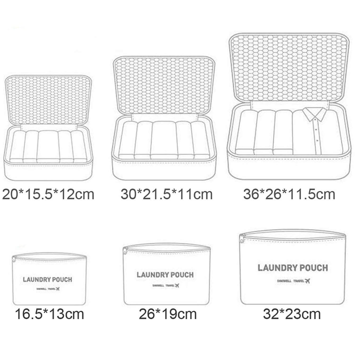 size of travel clothes storage bags organizer set of 6