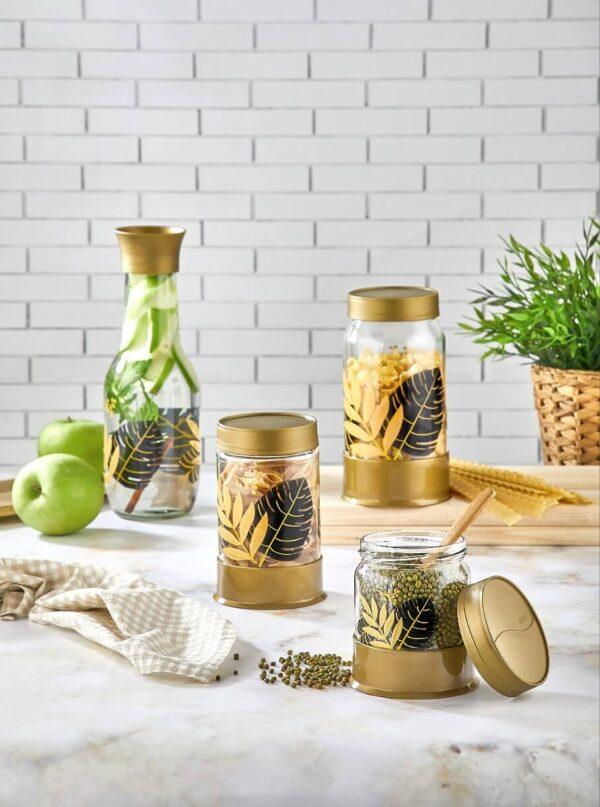 Golden Leaf Jar 3pc Set
