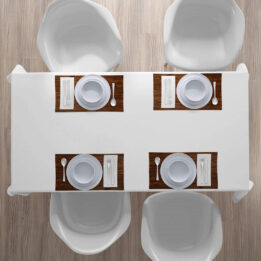 Set of 6 - Placemats for Dining Room Kitchen Table in Wooden Color