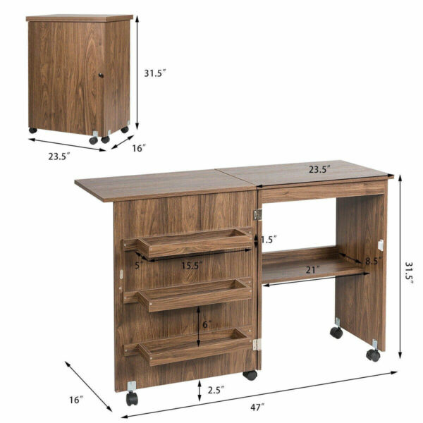size of sewing machine cabinets table