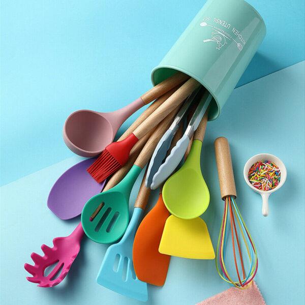 Silicone Wood Handle Spatula Spoon