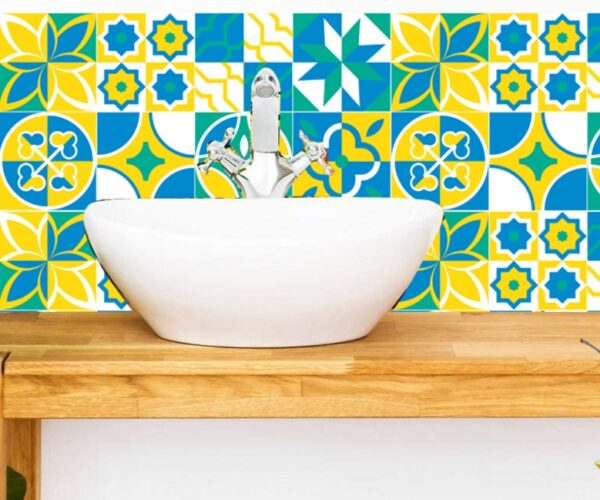Self Adhesive Yellow Textured Tile Stickers in Pakistan CookinOrbit.pk