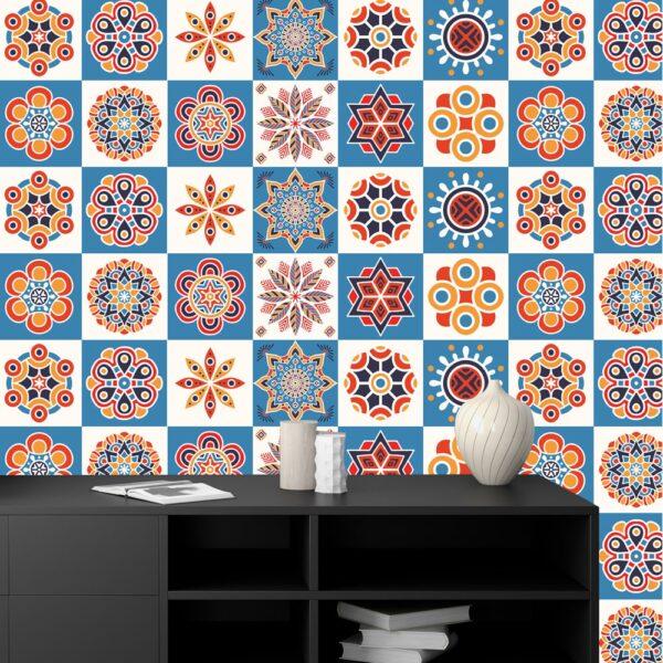 Self Adhesive Blue Textured Tile Stickers CookingOrbit.pk