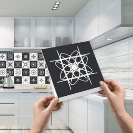 Black Textured Tile Stickers CookingOrbit.pk