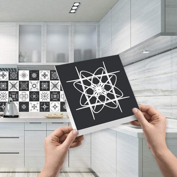 Black Textured Tile Stickers CookingOrbit.pk