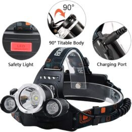 3 Modes Tactical Headlight with AAA Batteries CookingOrbit.pk