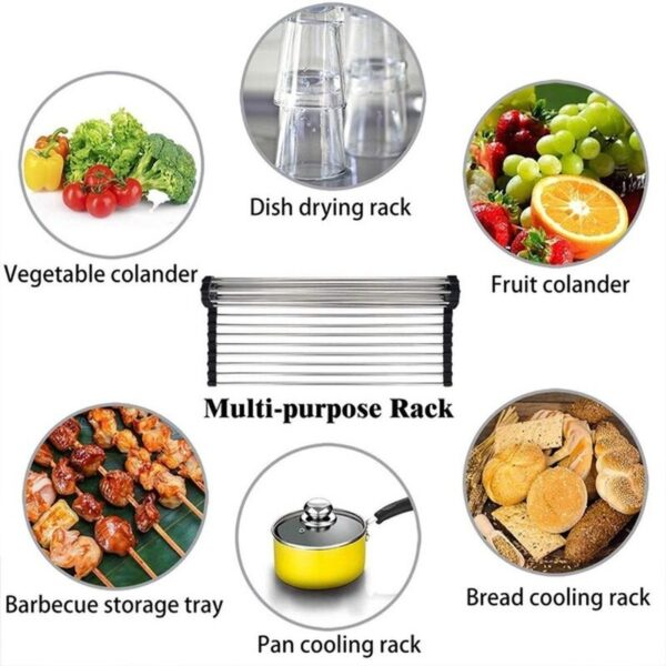 multipurpose over sink roll up dish drying rack