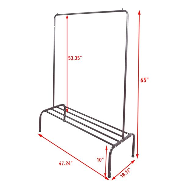 size of garment rack with shoe rack