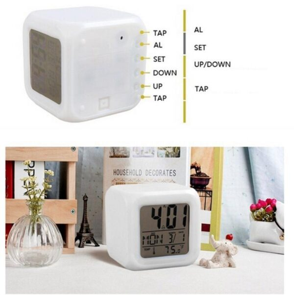 7 colour changing led digital alarm clock with date time temperature